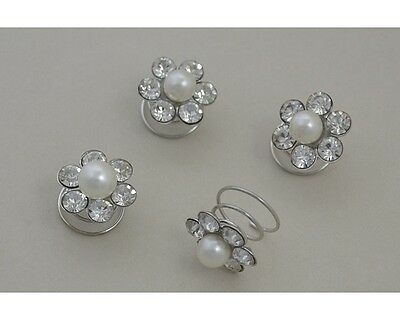 4 Pack Of Daisy Hair Jewels, Pearl + Diamantes Womens Wedding Accessories (6620) • 3£