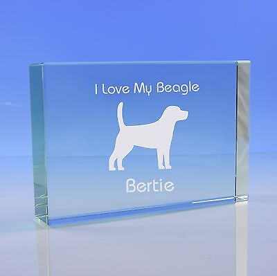 Beagle Dog Gift Personalised Engraved Glass Paperweight Ornament • 19.95£