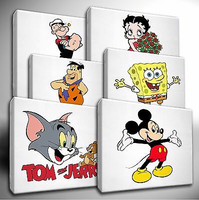 Choose Your Classic CARTOON Characters - CANVAS Wall Art Picture Prints • 12.99£