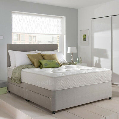 MEMORY FOAM DIVAN BED SET WITH MATTRESS AND HEADBOARD 3FT 4FT6 Double 5FT King • 269.99£