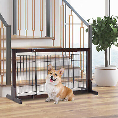 Free Standing Adjustable Pet Gate Fence Dog Secure Indoor Wood Construction Dog • 30.99£