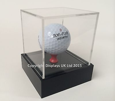 Perspex Acrylic Golf Ball Display Case With Raised Base - Sporting Memorabilia • 12.99£