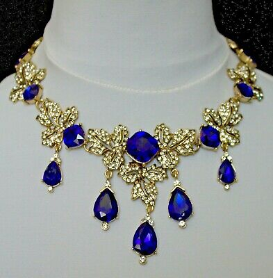 £23.99 • Buy ANTIQUE STYLE FAUX SAPPHIRE CRYSTAL STATEMENT BRIDAL NECKLACE 16ins 41cms UK