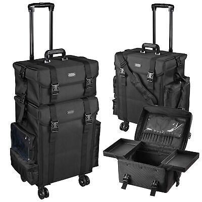 $174.90 • Buy Pro 2in1 Soft Sided Rolling Makeup Trolley Train Case Bag W/Drawer Organizer Box