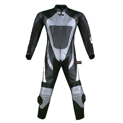$219.73 • Buy New 1PC One-Piece Armor Leather Motorcycle Racing Suit Silver W/ Hump US Size