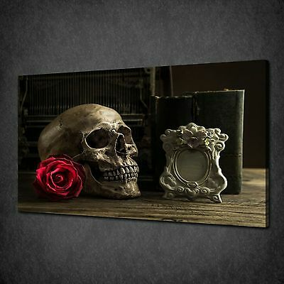 Gothic Skull With Red Rose Modern Canvas Wall Art Print Picture Ready To Hang • 21.85£