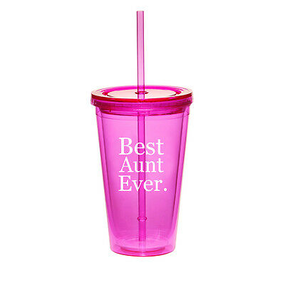 $14.99 • Buy 16oz Double Wall Acrylic Tumbler Pool Beach Cup With Straw Best Aunt Ever