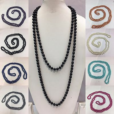 New Long Faux Pearl Beaded Chain Necklace Many Colours Available • 2.99£
