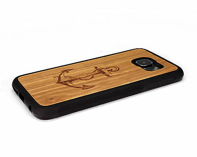 $ CDN40.22 • Buy Handcrafted Wood Samsung S6 / S6 Edge Plus Case Soft Rubber Sides Nuwoods Anchor