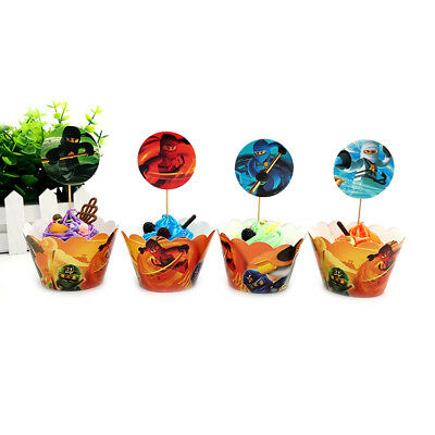 £2.99 • Buy 24pcs/lot Ninjago Cupcake Wrappers Toppers Picks Kids Birthday Party Decorations