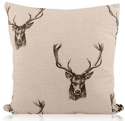 £11.99 • Buy Handmade Fryetts Charcoal Country Stag/Deer Head Linen Style Filled Cushion