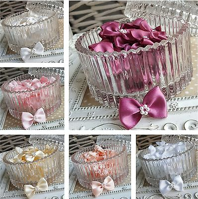10 Satin Ribbon Pre-tied Bows With Pearl Flower Centre. Pink White Peach Ivory  • 1.99£