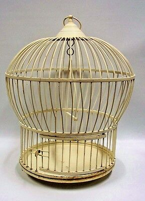 $99.97 • Buy Solid Metal Bird Cage Round Domed Painted Cream White 17  Swing VINTAGE