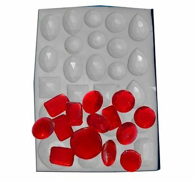 Assorted Gem Jewels Hard Candy Mould - Boiled Sweet Isomalt Gelatine Fondant • 5.99£