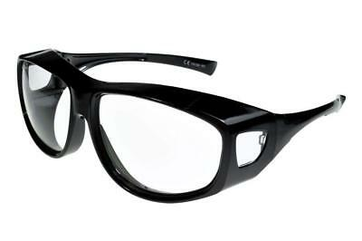 Fit Over-Glasses Grande Shatterproof Sunglasses With Clear Lenses Large Size • 18.97£