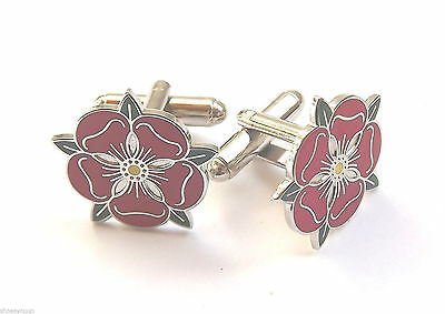 Lancashire Red Rose Enamel Crested Cuff-links (N26) • 15.99£