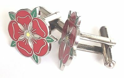 Small Lancashire Red Rose Enamel Crested Cufflinks (N27) • 15.99£