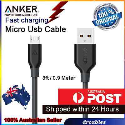 AU74.90 • Buy 3 Pack ANKER Cable Micro USB (3ft/0.9m) America #1, Fastest Charging