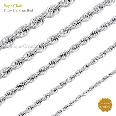 $6.19 • Buy Stainless Steel Silver Rope Chain Bracelet And Necklace Men Women 2mm To 8mm