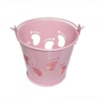 £5.99 • Buy Pack Of 10 Baby Pink Baby Feet Favour Pails Favour Buckets XMEFABU21
