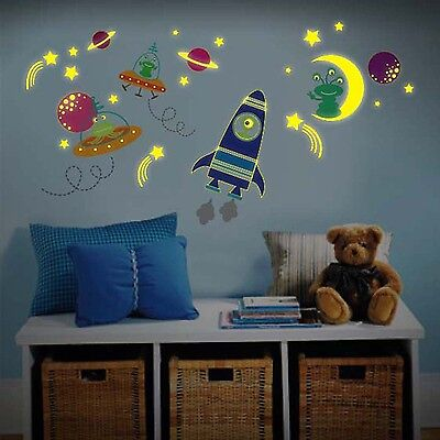Chidrens Room Wall Sticker Glow In Dark Rocket Ship, UFO Space Ship And Aliens. • 9.95£
