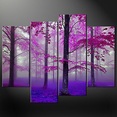 Purple Foggy Forest Cascade Canvas Print Wall Art Picture Ready To Hang • 44.85£