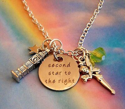 £5.99 • Buy Peter Pan Tinkerbell Fairy Big Ben Clock Charm Necklace Second Star To The Right