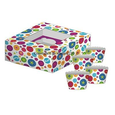 AU5.95 • Buy Premium Quality Cupcake Box + 4 Wrapper GLOSS COLOURFUL PARTY 4 HOLE With Window