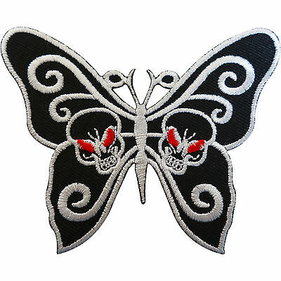 Embroidered Skull Butterfly Patch Badge Iron Sew On Clothes Bags Goth Punk Rock • 2.79£