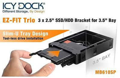 New ICY Dock EZ-FIT Trio Triple MB610SP 3x 2.5  HDD SSD Bracket For 3.5  Bay • 15.99£