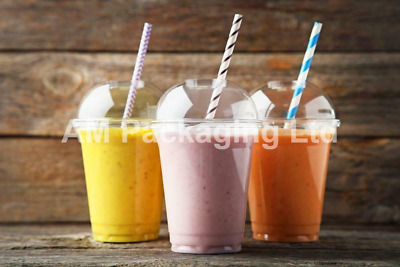 * 10oz Smoothie-Milkshake-sweets Cups & Lids Clear Plastic Domed Lid • 7.42£