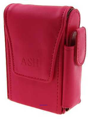 Cigarette Packet Case - Ash Dark Pink Leather Style With Lighter Holder NEW Apc8 • 9.49£