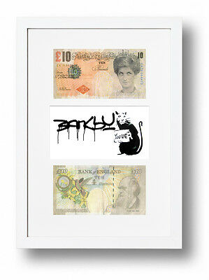 £19.95 • Buy 2 Framed Mounted Banksy Difaced £10 Note Tenners You Lie Rat Ten Pound Note