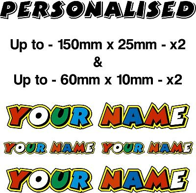 PERSONALISED Stickers Valentino Rossi Fumi Customised With Your Name Decals X4 • 7.99£