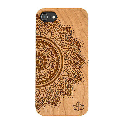 Half Mandala Natural Carved Wooden Phone Case For IPHONE SAMSUNG HUAWEI PIXEL • 9.99£