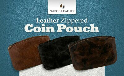 $8.99 • Buy New Mens/Womens Leather Zippered Coin Pouch / Purse / Change Holder Nabob Leathe