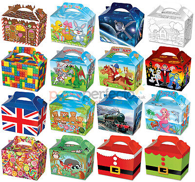 10 Childrens Party Boxes - Choose From 17 Designs - Bag Lunch Meal Bag Themed • 3.65£