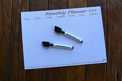 AU12.50 • Buy A4 DAYS Monthly Weekly Calendar Flexible Fridge Magnet Whiteboard Planner +2Pens