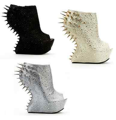 Women Curved Wedge Gems Encrusted  Diamante Platform Ankle Boots Wedge Shoes UK • 19.99£