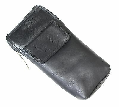 High Quality All Black Soft Leather Spectacle Glasses Case Holder Gift For Him • 8.99£
