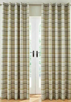 Woven Check Green Grey Beige Lined Ring Top Curtains *8 Sizes* • 64.99£