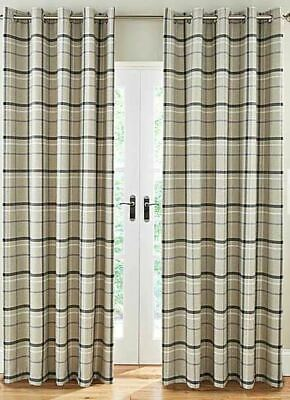 Woven Check Black Grey Beige Lined Ring Top Curtains *8 Sizes* • 79.99£