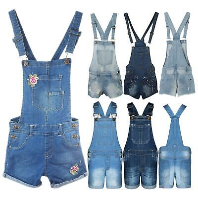 New Girls Kids Denim Dungaree Outfit Shorts Dress Jumpsuit Party Size 3-14 Years • 12.99£