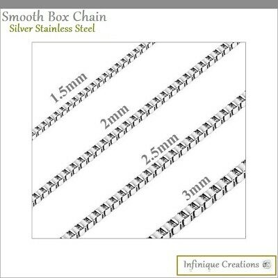 $5.59 • Buy Stainless Steel Silver Box Chain Bracelet And Necklace Men Women 1mm-4mm 7 -38