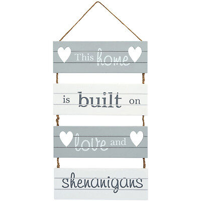 Home, Love & Shenanigans Wooden Hanging Sign - Shabby Chic Wall Door Grey White  • 10.50£