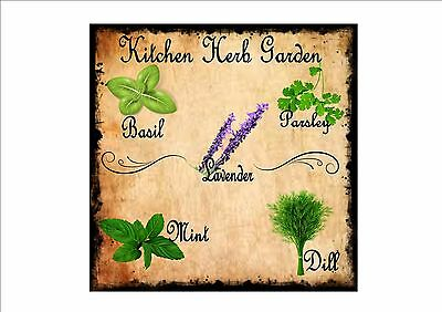 £8 • Buy Kitchen Wall Plaque Vintage Style Metal Kitchen Sign Herbs Cafe Sign