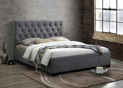 Cologne Upholstered Headboard Bed Frame 150cm 5FT Grey Fabric King Size • 293.99£