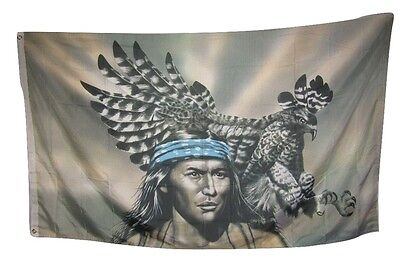 $8.88 • Buy 3x5 Native American Indian Eagle Man Rough Tex Knitted Flag 3'x5'
