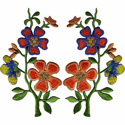 Pair Of Orange Blue Flower Patches Iron Sew On Flowers Embroidered Patch Badge • 4.99£