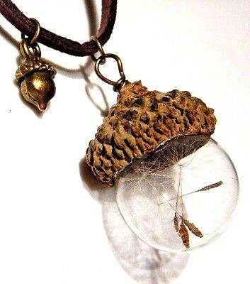ACORN TOP GLASS ORB WISHING JAR Dandelion Seed Wish Bottle Charm Necklace 6Z • 6.99$